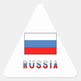 Bandera y palabra de Rusia Pegatina Triangular