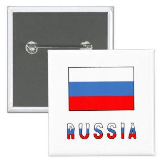 Bandera y palabra de Rusia Pin Cuadrado