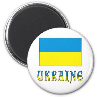 Bandera y palabra de Ucrania Imán Redondo 5 Cm
