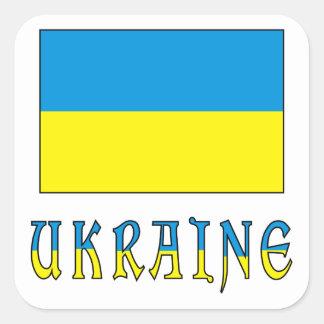 Bandera y palabra de Ucrania Pegatina Cuadrada