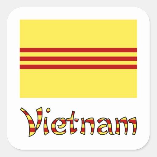 Bandera y palabra Pre-1974 de Vietnam Pegatina Cuadradas
