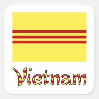Bandera y palabra Pre-1974 de Vietnam Pegatina Cuadrada