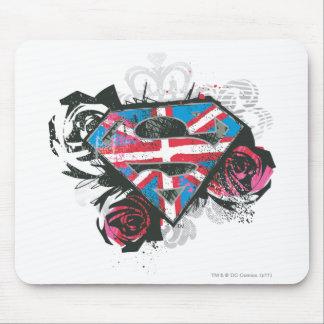 Bandera y rosas británicos de Supergirl Mouse Pads
