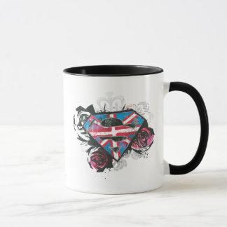 Bandera y rosas británicos de Supergirl Taza