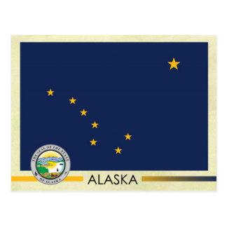 Bandera y sello del estado de Alaska Tarjetas Postales