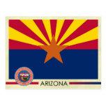 Bandera y sello del estado de Arizona Tarjeta Postal