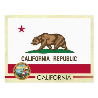 Bandera y sello del estado de California Postales