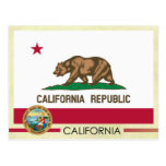 Bandera y sello del estado de California Tarjetas Postales