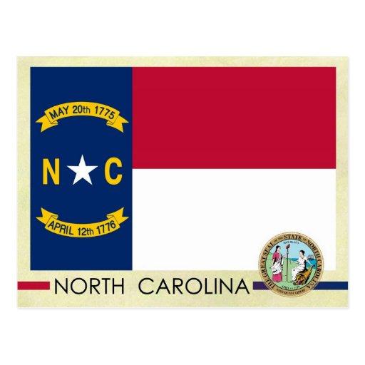Bandera y sello del estado de Carolina del Norte Tarjetas Postales