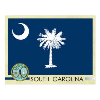 Bandera y sello del estado de Carolina del Sur Tarjeta Postal