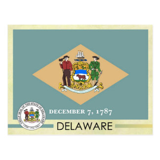 Bandera y sello del estado de Delaware Tarjetas Postales