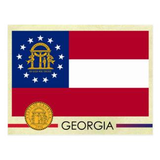 Bandera y sello del estado de Georgia Tarjeta Postal
