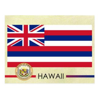 Bandera y sello del estado de Hawaii Postales