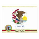 Bandera y sello del estado de Illinois Tarjetas Postales