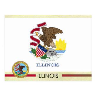 Bandera y sello del estado de Illinois Tarjeta Postal