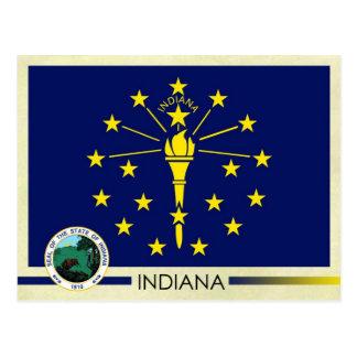 Bandera y sello del estado de Indiana Tarjetas Postales