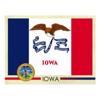Bandera y sello del estado de Iowa Postales