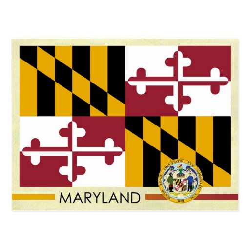 Bandera y sello del estado de Maryland Tarjeta Postal