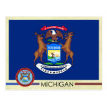 Bandera y sello del estado de Michigan Tarjeta Postal