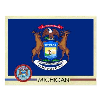 Bandera y sello del estado de Michigan Tarjetas Postales