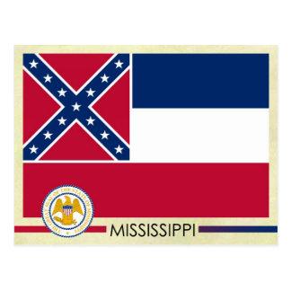 Bandera y sello del estado de Mississippi Tarjetas Postales