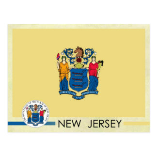 Bandera y sello del estado de New Jersey Tarjeta Postal