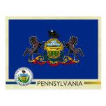 Bandera y sello del estado de Pennsylvania Tarjeta Postal