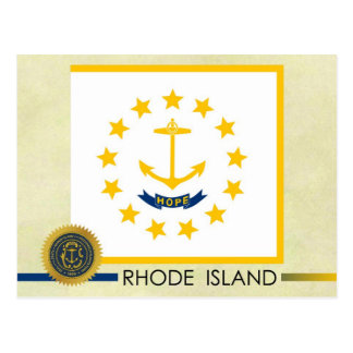 Bandera y sello del estado de Rhode Island Tarjetas Postales