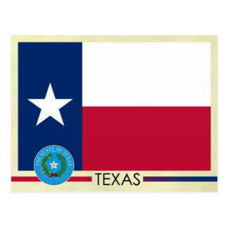 Bandera y sello del estado de Tejas Tarjetas Postales