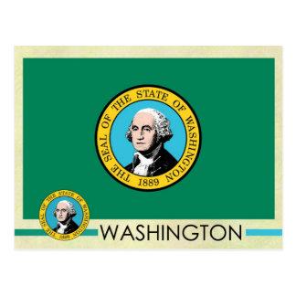Bandera y sello del estado de Washington Postales