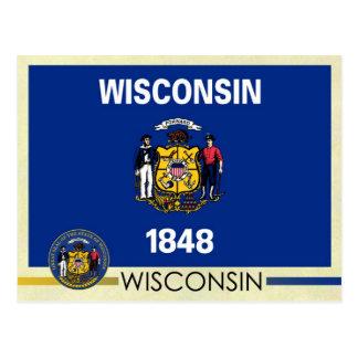 Bandera y sello del estado de Wisconsin Tarjeta Postal