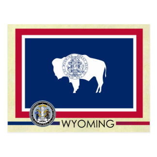 Bandera y sello del estado de Wyoming Tarjeta Postal