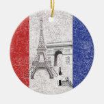 Bandera y símbolos de Francia ID156 Adorno Navideño Redondo De Cerámica