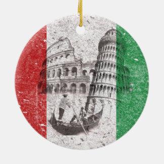 Bandera y símbolos de Italia ID157 Adorno Navideño Redondo De Cerámica