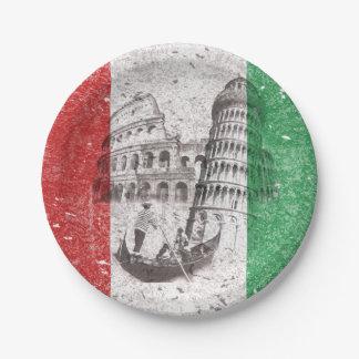 Bandera y símbolos de Italia ID157 Platos De Papel