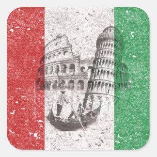 Bandera y símbolos de Italia Pegatina Cuadrada