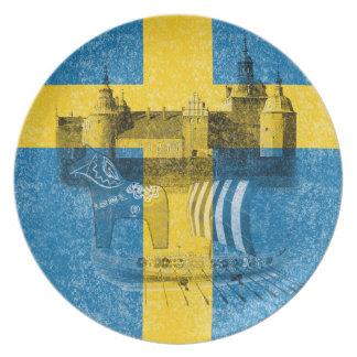 Bandera y símbolos de Suecia ID159 Plato Para Fiesta