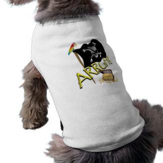 Bandera y tesoro del cráneo y de pirata de la band camiseta de perro