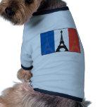Bandera y torre Eiffel francesas Camisa De Perrito
