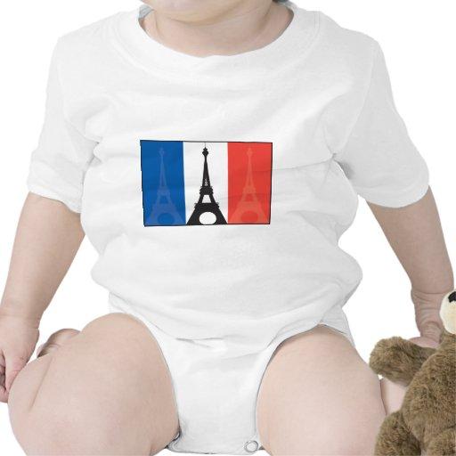 Bandera y torre Eiffel francesas Camisetas
