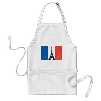 Bandera y torre Eiffel francesas Delantal