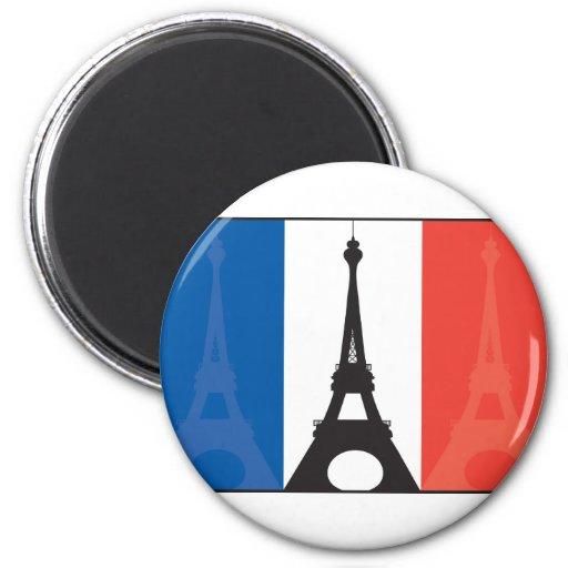 Bandera y torre Eiffel francesas Imán Redondo 5 Cm