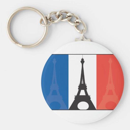 Bandera y torre Eiffel francesas Llavero Personalizado