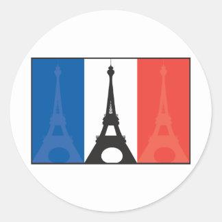 Bandera y torre Eiffel francesas Pegatina Redonda