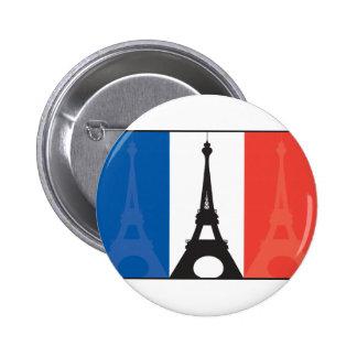Bandera y torre Eiffel francesas Pin Redondo De 2 Pulgadas