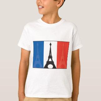 Bandera y torre Eiffel francesas Playera