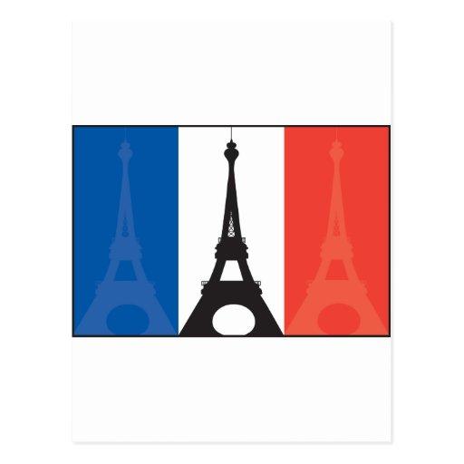 Bandera y torre Eiffel francesas Postal