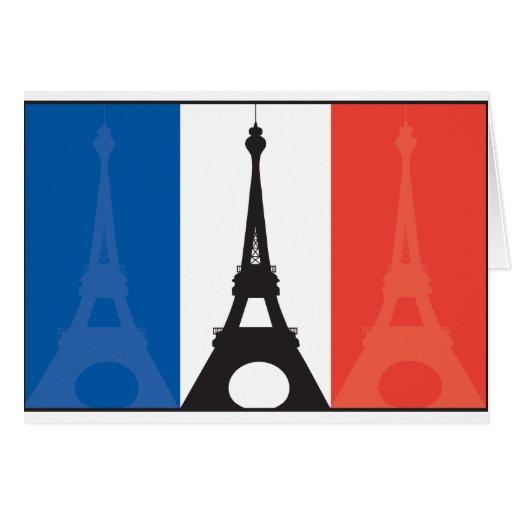 Bandera y torre Eiffel francesas Tarjeta De Felicitación