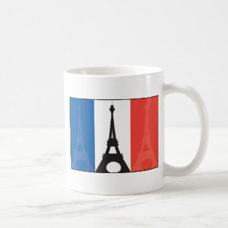 Bandera y torre Eiffel francesas Taza Básica Blanca