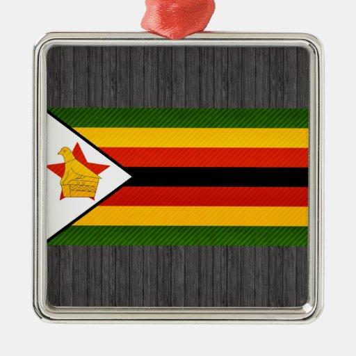 Bandera zimbabuense pelada moderna ornamentos para reyes magos
